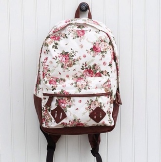 bag floral print bag suede floral backpack brown white pink green dress straps