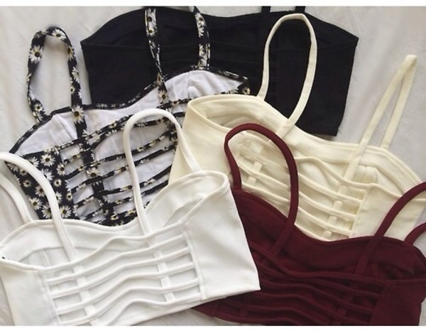 tank top shirt crop tops black ivory burgundy bralette white floral caged bralette grunge t-shirt bustier flowers pastel yellow burgandy top black top white top daisy brandy melville chiyo bralette dress red cropped hipster strappy