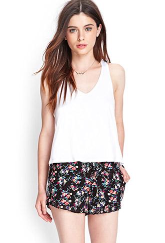 Ruffled Floral Drawstring Shorts | FOREVER21 - 2000122621