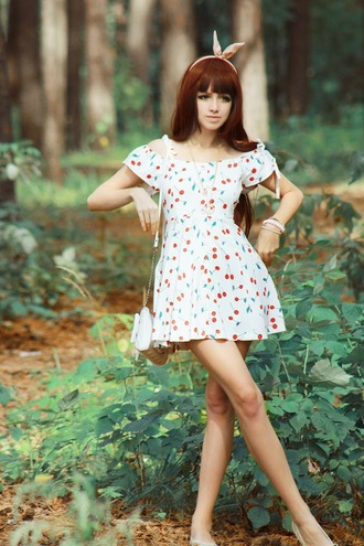 dress cherry lolita cherries white dress girly