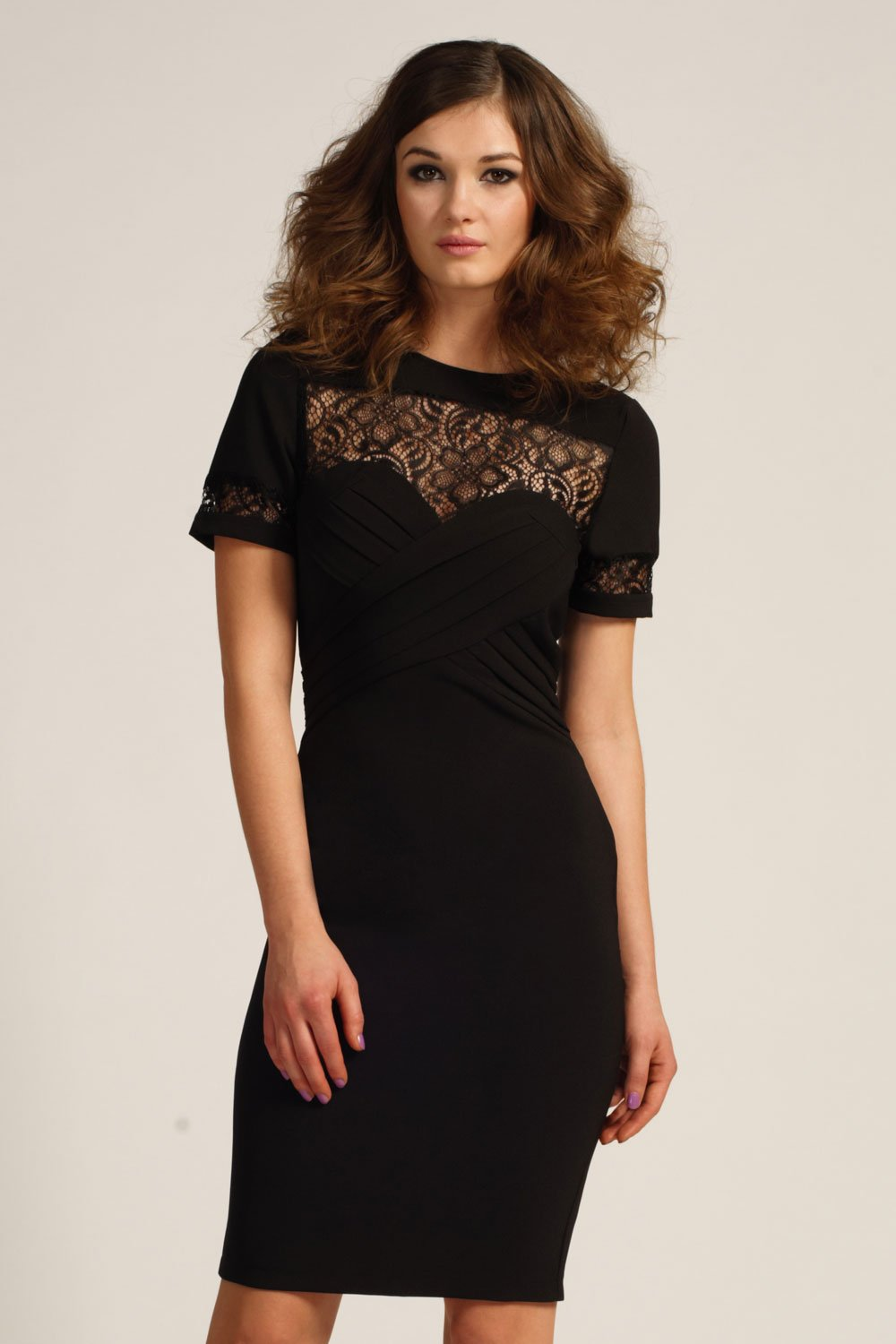 Black Pleated Front Lace Detail Bodycon Dress
