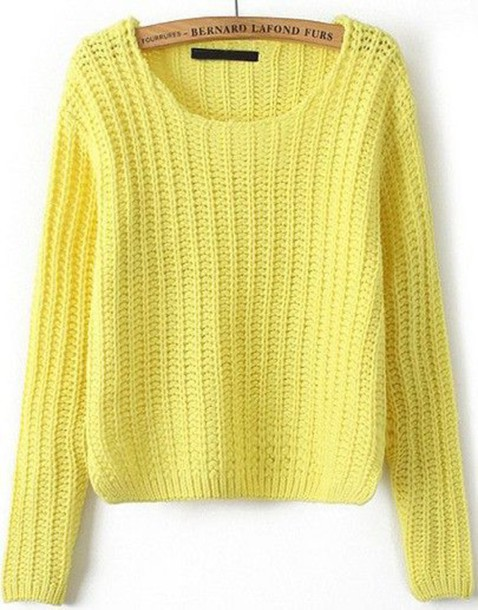 Yellow Sweater Cable Knit Thin Cable Knit Pattern Scoop Neck