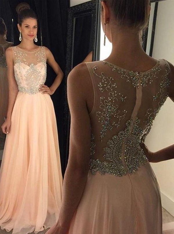 Pink chiffon Round neck sequin long prom dress 7f302359b