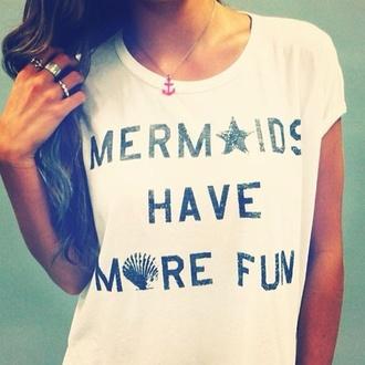 anchor t-shirt beach mermaid starfish seashell anchor necklace nautical
