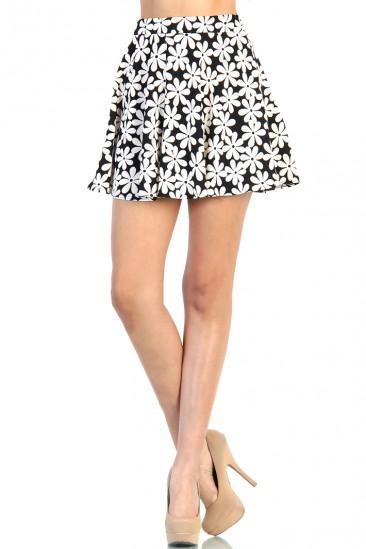 LoveMelrose.com From Harry & Molly | Daisy Skater Skirt - Black / White