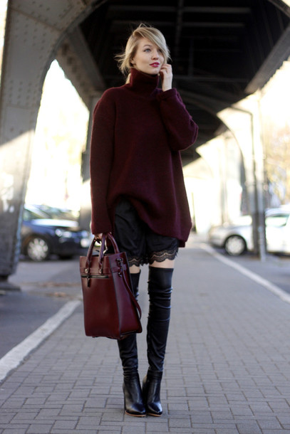 ohh couture blogger shorts lace oversized sweater burgundy sweater leather bag burgundy winter outfits oversized turtleneck sweater sweater blouse bag jewels