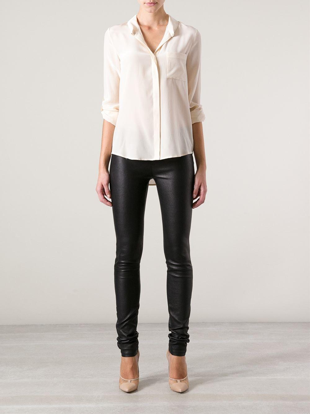 Diane von furstenberg open collar blouse