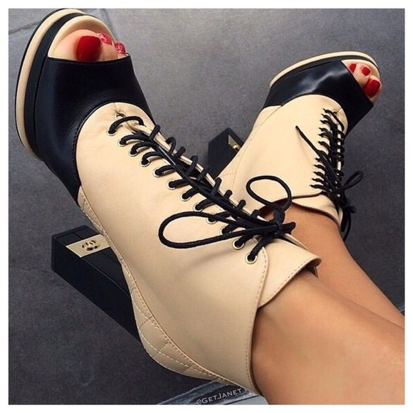 chanel peep toe high heels boots chanel shoes