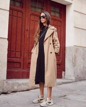 coat,trench coat,grey long coat,trainers,midi dress,casual dress,crossbody bag,sunglasses