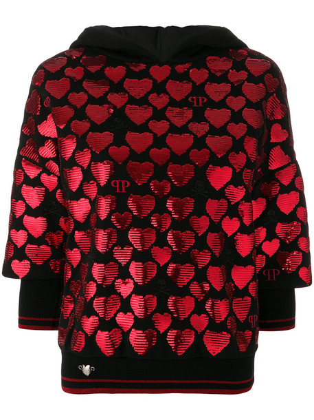 PHILIPP PLEIN hoody heart women cotton black sweater