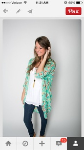 blouse,clothes,jacket,pants,jewels,cardigan,kimono,perfect,oversized,flowy,blue,pink,colorful,floral,jeans,necklace,floral blue,top,mint,floral kimono,leggings,floral cardigan,shirt