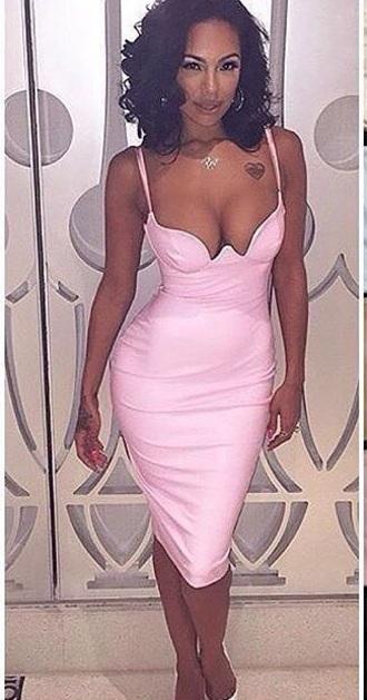 dress pink spandex cleavage erica mena pink dress cleavage dress