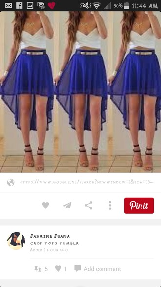 skirt blue skirt chiffon skirt hilow