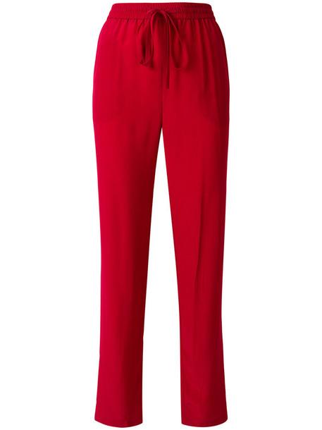 pants track pants women drawstring silk red