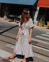 dress,midi dress,striped dress,plunge v neck,slide shoes,sunglasses