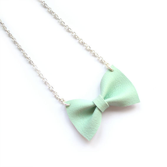pastel MINT BOW NECKLACE by iloveyoujewels on Etsy