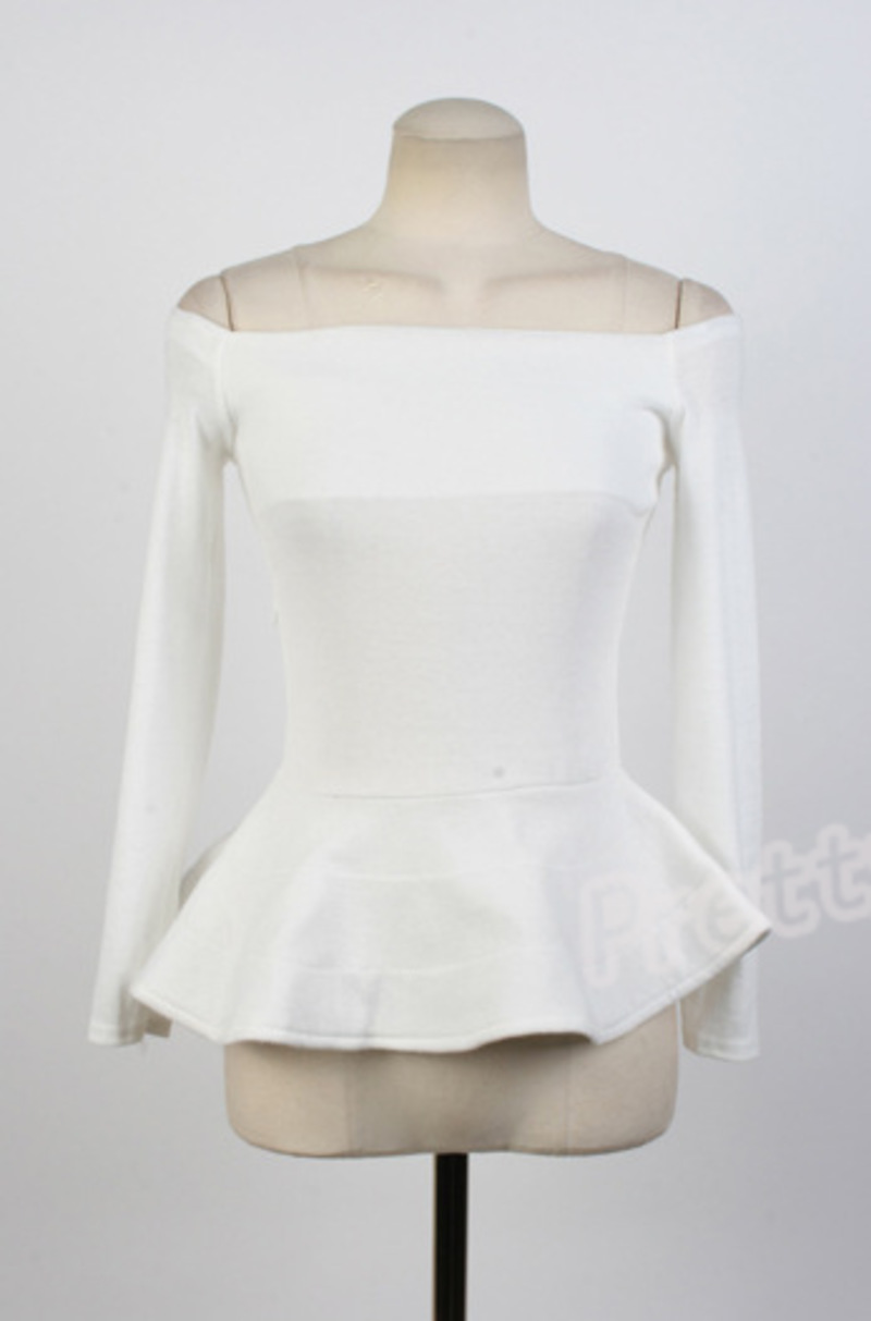 Women Sexy Off Shoulder Neck Peplum Long Sleeve Top Shirt Blouse | eBay