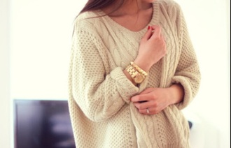 sweater winter sweater winter outfits pullover beige cream creme ecru watch gold gold watch jewels bracelets
