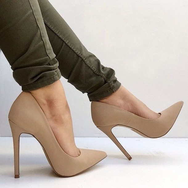 Shoes: pumps, nude heels, nude pumps, high heels, suede pumps ...