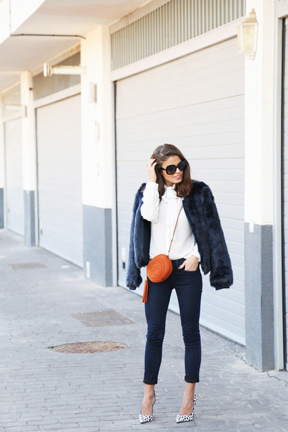 seams for a desire blogger gucci mini bag white sweater faux fur jacket pointed toe coat shirt jeans shoes bag jewels sunglasses