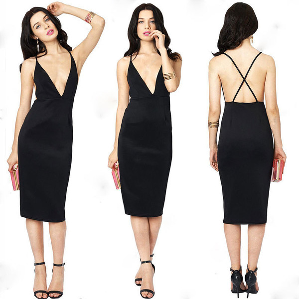 black dress plunge v neck spaghetti strap dresses sleeveless sexy dress halter dress midi dress clubwear evening dress sexy elegant