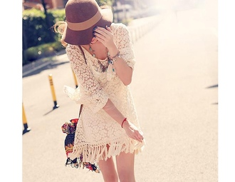 dress boho boho dress bohemian dress bohemian hat korean tan long sleeve indie dress lace fashion summer spring fringes three-quarter sleeves rose wholesale-ap
