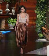 skirt,metallic,pleated,pleated skirt,vanessa hudgens,top,glitter