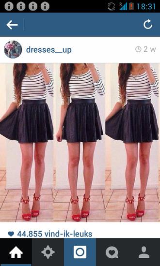 dress striped dress leather skirt