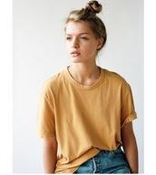 shirt,mustard,yellow,t-shirt,rolled sleeve,oversized,retro,vintage,top,mustard tee,mustard shirt,dandelion,oversizef