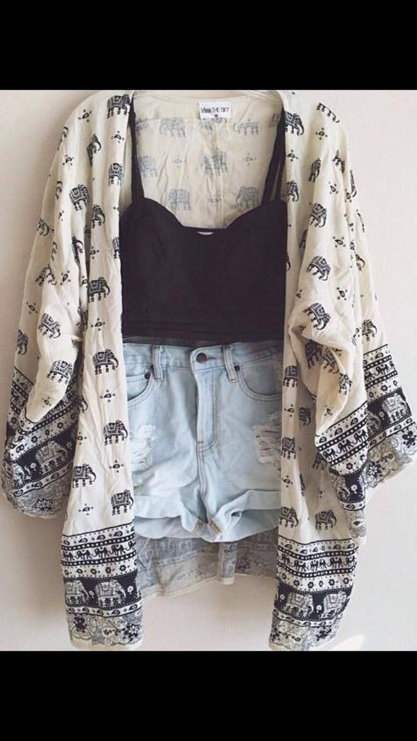jacket kimono elephant blouse