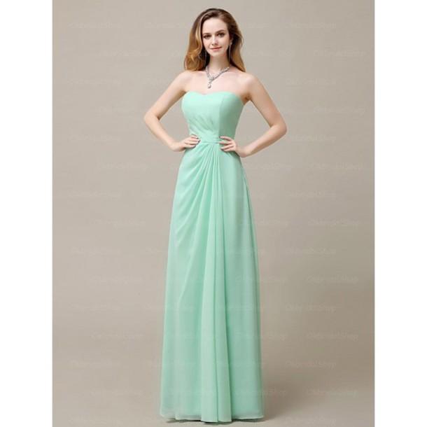 dress mint bridesmaid chiffon long