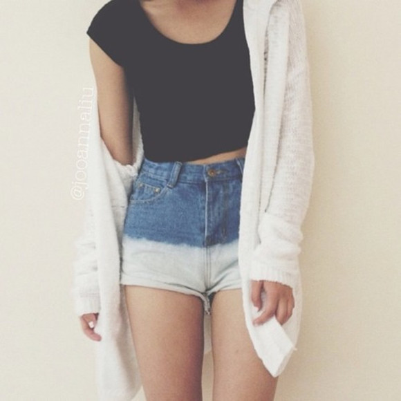 shorts top cardigan white long cardigan white cardigan blue fluffy ombre shorts