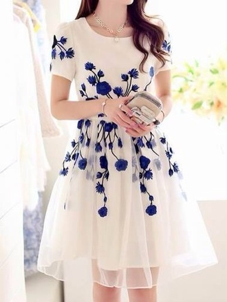 blue dress white dress embroidered puffy floral dress holiday dress