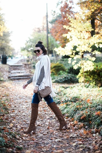 life & messy hair blogger sweater jeans shoes sunglasses jewels gucci bag thigh high boots fall outfits turtleneck sweater winter outfits white sweater poncho brown boots