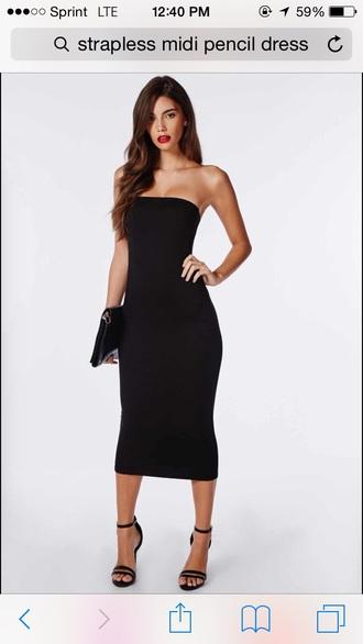 dress midi pencil dress strapless