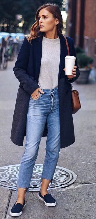 coat white shirt navy blue coat boyfriend jeans navy blue loafers blogger