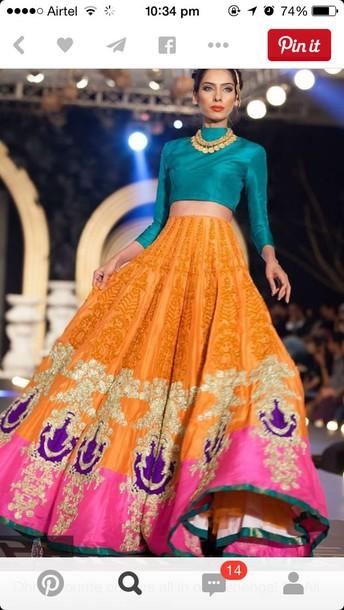 dress blue orange lehenga maxi skirt colorful ethnic