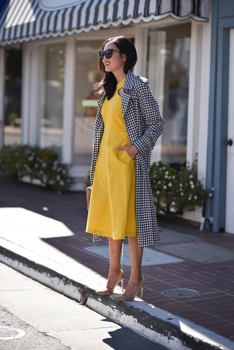 dress tumblr midi dress yellow yellow dress coat gingham pumps pointed toe pumps high heel pumps office outfits shoes work outfits