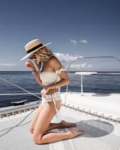swimwear,off the shoulder bikini,hat,off the shoulder,swimwear two piece,bikini,bikini top,bikini bottoms,white swimwear,white bikini,sun hat,crochet bikini