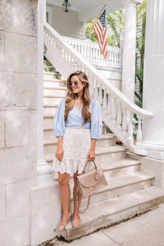 skirt mini skirt lace skirt blouse striped blouse ballet flats blogger blogger style handbag top tumblr blue top wrap top light blue white skirt sandals flat sandals bag nude bag
