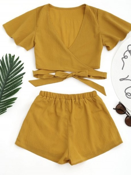 romper girly two-piece matching set mustard sweater crop tops crop cropped shorts
