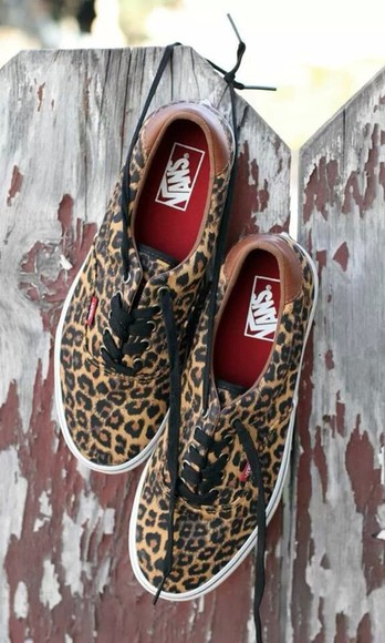 vans off the wall shoes leopard print, vans, brown and black
