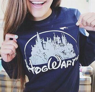 sweater hogwarts harry potter disney blue castle jumper winter outfits hipster princess navy