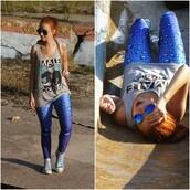 pants,romwe,blue,leggings,romwe leggings,print