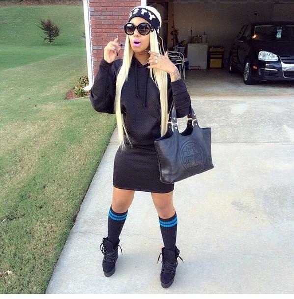 let her lether hoodie socks heels black skirt black hoodie black top top long sleeves black socks black shoes black heels pinkbitchh