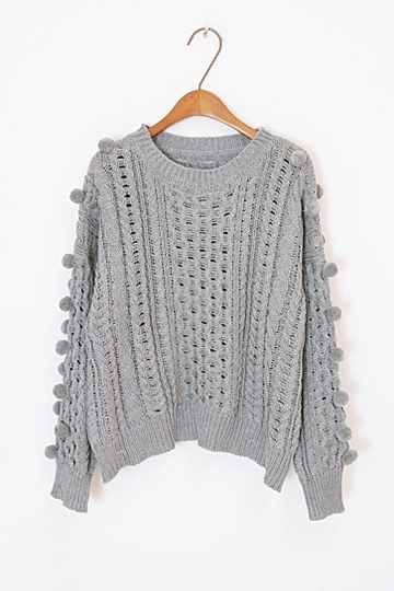 Cute Hair Ball Twist Knit Sweater [FKBJ10330]- US$34.99 - PersunMall.com