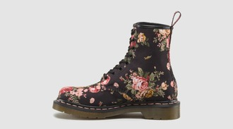shoes floral black drmartens