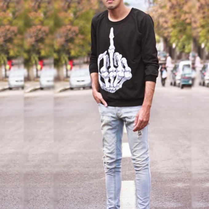 sweater black top middle finger skeleton crewneck the middle
