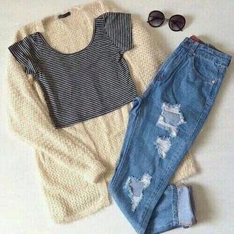 t-shirt jeans cardigan nail polish