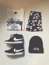 pants,shoes,hat,shorts,top,t-shirt,mickey mouse,nike,skirt,shirt,black,white,black and white,stussy,sassy,mickey mouse print,outfit,streetwear,beanie,grunge,pale,hipster